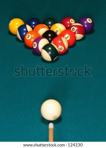 A billiard stick and cue ready to break (top view)