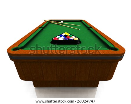 A billiard table with balls in a triangle and two cues. - stock photo