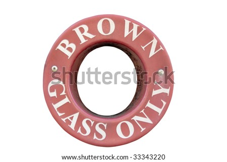 a bin sign for recycling brown glass only with clipping path - stock photo
