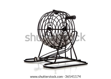 A bingo game hopper on a white background - stock photo