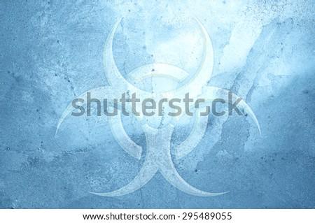 A biohazard symbol on an ice background. - stock photo