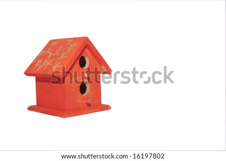 a bird house in isolation with a clipping path - stock photo