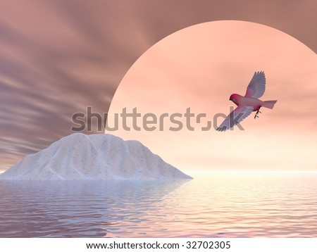 A bird illustration concept of global warming on earth - stock photo