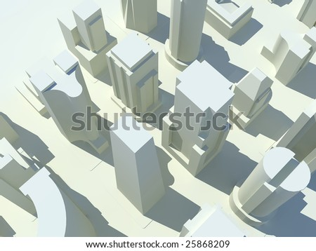A bird's eye view of a three dimensional rendered city with all of the buildings in white. - stock photo