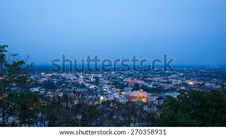A bird's eye view of city in nightfall and tree foreground