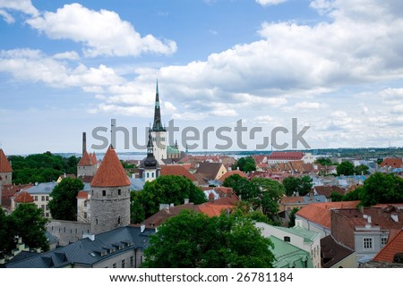 a bird's-eye view of Tallinn`s center