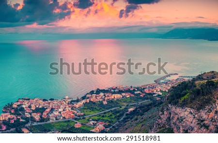 A bird's eye view of the Solanto village. Colorful spring sunset, province Palermo, Sicily, Italy, Europe. Instagram toning. - stock photo