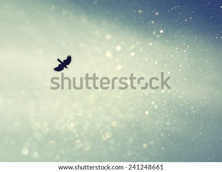 A bird spreading its wings and fly to heaven sky. retro filtered image with glitter - stock photo