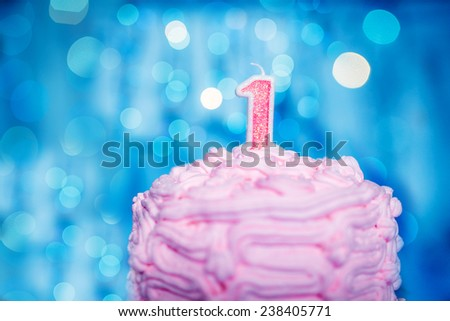 A birthday cake for the special little guy turning one today. - stock photo
