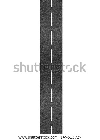 A bitumen road isolated against a white background - stock photo