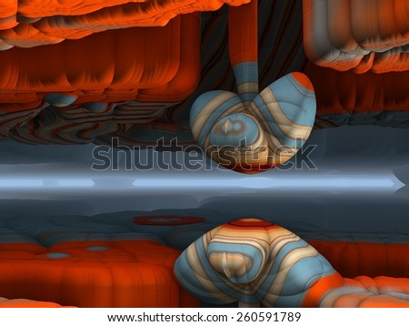 A bizarre fantasy cave in a retro psychedelic design. - stock photo