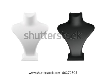 A black and a white mannequin over white background - stock photo