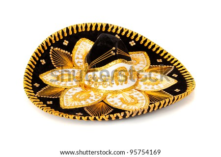A black and gold mariachi sombrero on white background - stock photo