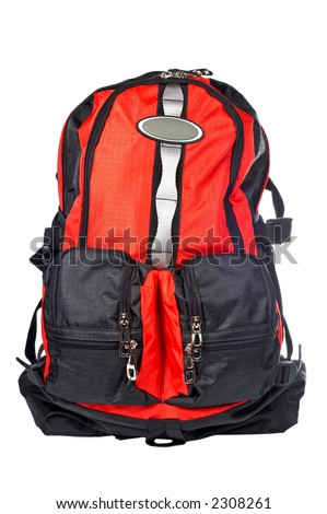 A black and red backpack over a white background - stock photo