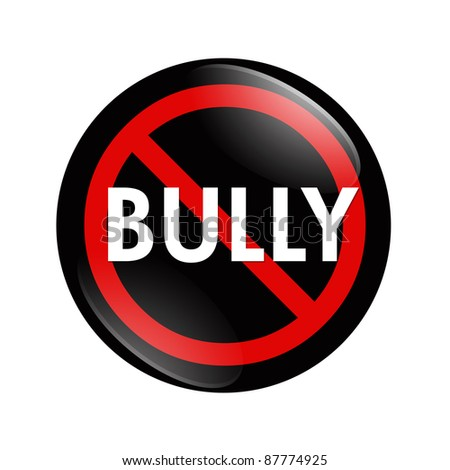 A black and red  button with word Bully isolated on a white background, No Bully button - stock photo