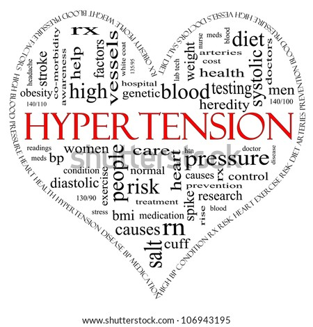A black and red heart shaped word cloud concept around the word Hypertension including words such as reading, control, doctor, rx and more. - stock photo