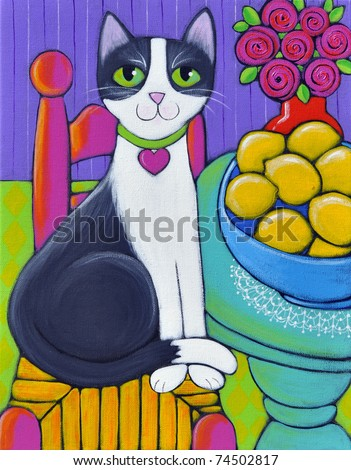 A black and white cat sitting next to a table that has a big blue bowl full of lemons on it. She is wearing a collar with a heart - stock photo