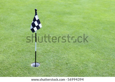A black and white checker golf flag on green - stock photo