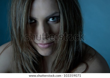 A black and white close up of a beautiful young woman - stock photo