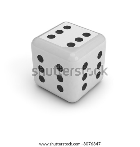 A black and white dice, isolated over a white background. It has six dots on every face, meaning that you can't loose. - stock photo