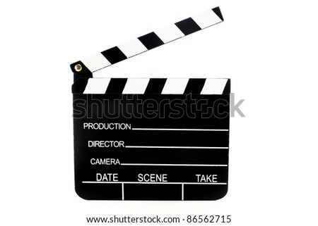 a black and white film flap on a white background