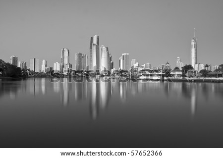 A black and white image of the Gold Coast. - stock photo