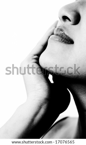 A black and white isolated shot of beautiful woman face