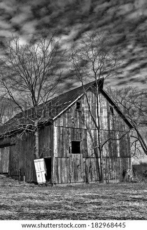 A black and white of State Road north of Hale Missouri