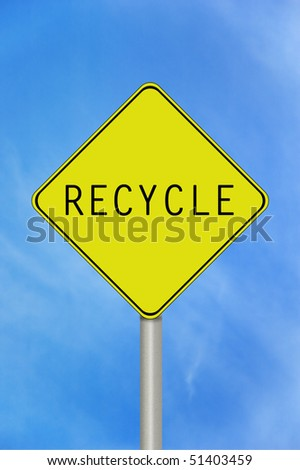 A black and yellow recycle sign