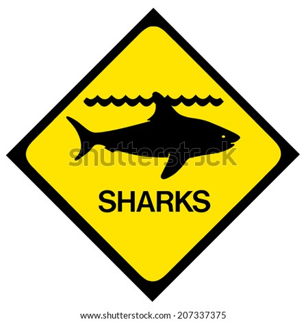 A black and yellow shark warning sign. Isolated on white. - stock photo
