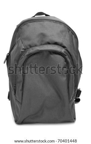 a black backpack isolated on a white background - stock photo