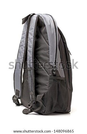 A black backpack on a white background