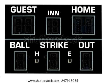 A black baseball scoreboard. - stock photo