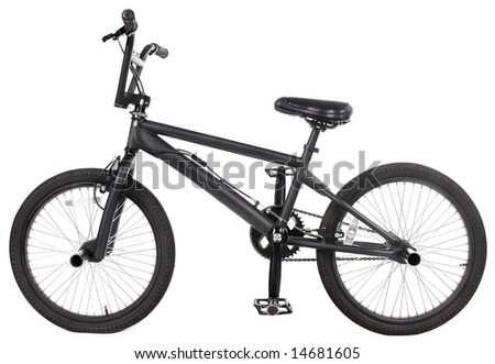 A black bicycle on a white background.