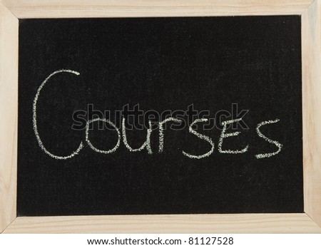 A black board with a wooden frame and the word 'COURSES' written in chalk.