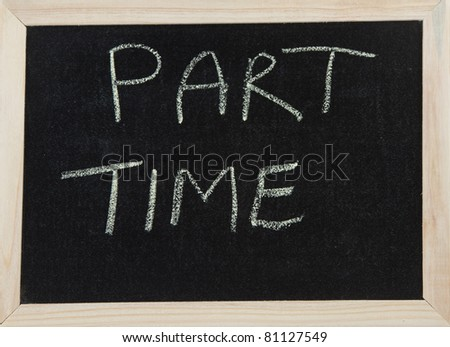 A black board with a wooden frame and the word 'PART TIME' written in chalk.