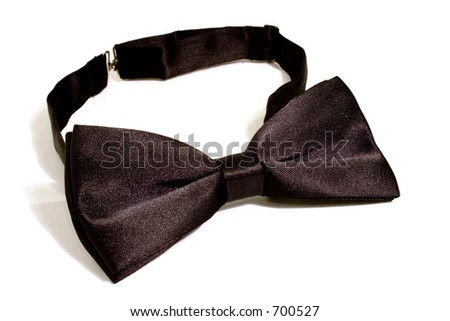 A black bow tie isolated on white background - stock photo