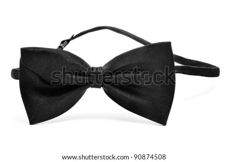 a black bow tie on a white background - stock photo