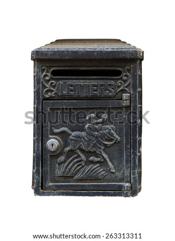 A black cast iron letterbox isolated on white with an engraving of a horse and knight and the word LETTERS. - stock photo
