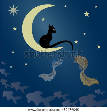 A black cat sits on the moon and catches fish among  the starry sky.