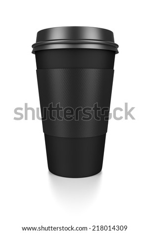 A black coffee to go isolated on a white background - stock photo