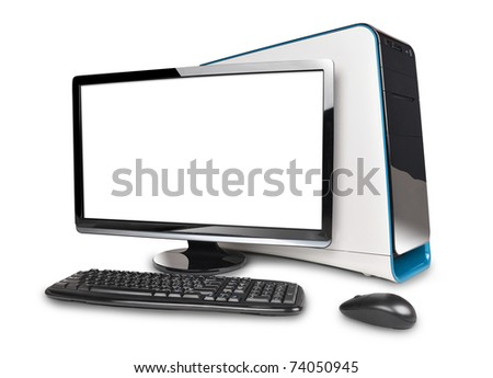 A black computer desktop is isolated on a white background with a blank screen to add text. - stock photo