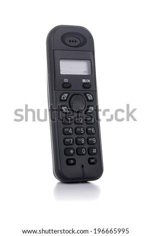 A Black Cordless Phone Isolated on White Background - stock photo