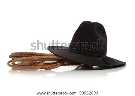 A black cowboy hat with a lasso/lariat on a white background - stock photo