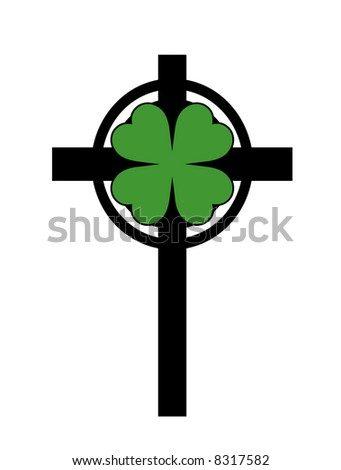 A black cross illustration with a green shamrock. - stock photo