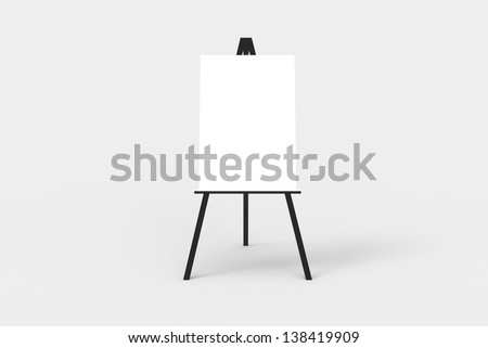 A black easel with a blank white canvas on it. Perfect for pasting artwork, notices or commercial adds.