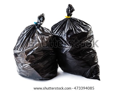 a black garbage bag isolated over a white background