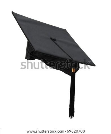a black graduation cap - stock photo