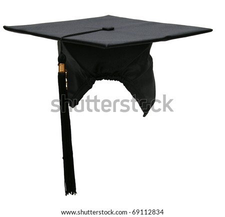 A black graduation hat - stock photo