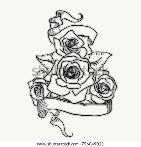 black grey digitally illustrated tattoo design stock illustration 756049021 shutterstock. Black Bedroom Furniture Sets. Home Design Ideas
